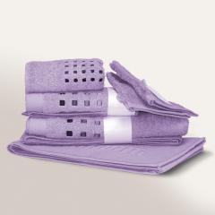 Parure de bain 6 pièces PURE SQUARES Bleu Lavande 550 g/m2