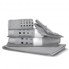 Parure de bain 6 pièces PURE SQUARES Argent 550 g/m2