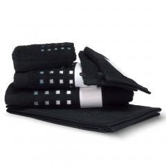 Parure de bain 6 pièces PURE SQUARES Noir 550 g/m2