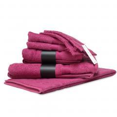 Parure de bain 7 pièces ROYAL CRESENT Rose Vin 650 g/m2