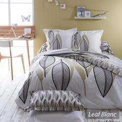 Parure de lit 140x200 cm 100% coton LEAF BLANC * DESTOCKAGE *