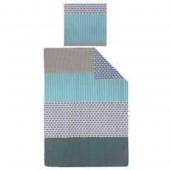Parure de lit 140x200 cm 100% coton RIO JADE bleu 2 pièces