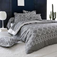Parure de lit 240x220 cm 100% coton FOREVER GRIS gris foncé 3 pièces