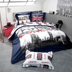 Parure de lit 260x240 cm 100% cotonJACK LONDON CITY 3 pièces