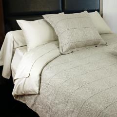 Parure de lit 240x220 cm Satin de coton ODEON Marron clair