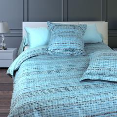 Parure de lit 260x240 cm Satin de coton LOUVRE Bleu clair