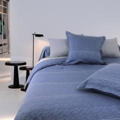 Parure de lit 260x240 cm Satin de coton VENDOME Bleu foncé