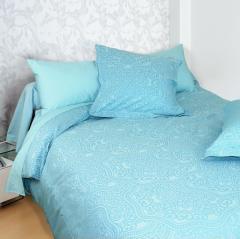 Parure de lit 280x240 cm Satin de coton PANTHEON Bleu clair