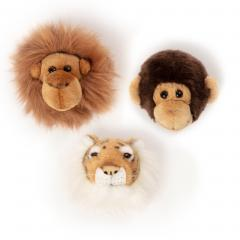 Peluche trophée mini 3 petites têtes collection Jungle