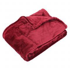 Plaid polaire microvelours 130x150 cm VELVET Bourgogne Rouge 100% Polyester 320 g/m2 Traitement non-feu 12952