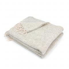 Plaid 130x170 cm 40% alpaga 60% mérinos laine 360 g/m2 ANDINE Blanc Naturel