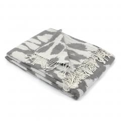 Plaid 130x170 cm laine mérinos Woolmark 380 g/m2 KENYA Gris Ecru/Tourterelle
