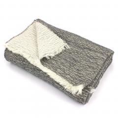 Plaid chiné crêpe 145x175 cm 35% laine mérinos 35% acrylique 30% coton, 260 g/m2 TASMANIE Noir