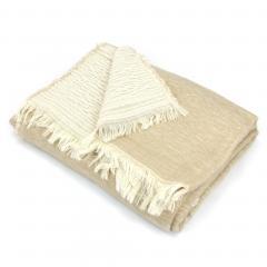 Plaid chiné crêpe 145x175 cm 35% laine mérinos 35% acrylique 30% coton, 260 g/m2 TASMANIE Marron Sable