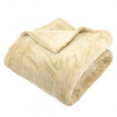 Plaid polaire 130x150 cm microvelours 100% Polyester 320 g/m2, VELVET Beige