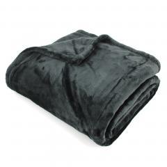 Plaid polaire 130x150 cm microvelours 100% Polyester 320 g/m2, VELVET Noir