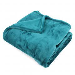 Plaid polaire 150x200 cm microvelours 100% Polyester 320 g/m2 VELVET Bleu Canard