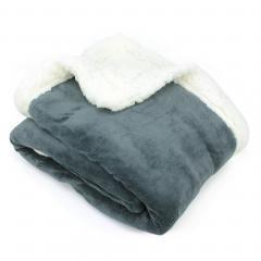 Plaid hiver 130x150 cm polyester 490g/m² ARTHUR Gris Acier