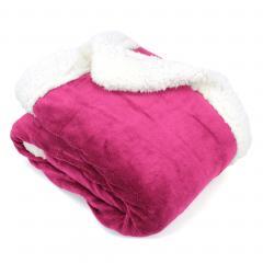 Plaid hiver 130x150 cm polyester 490g/m² ARTHUR Rouge Framboise