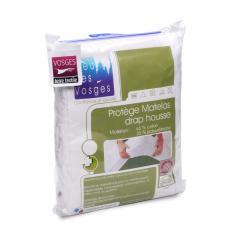Protège matelas imperméable 220x220 cm bonnet 40cm ARNON molleton 100% coton contrecollé polyuréthane