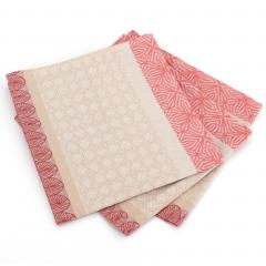 Lot de 3 serviettes de table 45x45 cm Jacquard 100% coton - sans enduction CHARLESTON rouge Corail