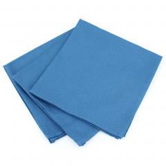 Lot de 3 serviettes de table 45x45 cm Jacquard 100% coton CUBE bleu Cobalt