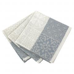 Lot de 3 serviettes de table 45x45 cm Jacquard 100% coton - sans enduction MOSAIC PERLE Gris
