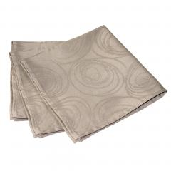 Lot de 3 serviettes de table 45x45 cm Jacquard 100% coton SPIRALE taupe