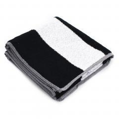 Serviette de toilette 50x100 cm MONA rayure blanc & noir 100% coton 480 g/m2