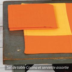 Set de table Cocina 45x33 cm avec serviette assortie - Damier orange et jaune