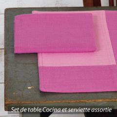 Set de table Cocina 45x33 cm avec serviette assortie - Damier rose et fuchsia