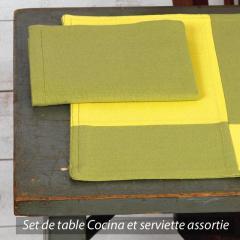 Set de table Cocina 45x33 cm avec serviette assortie - Damier vert et jaune
