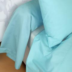 Taie de traversin 240x45 cm uni Satin de coton PANTHEON Bleu clair