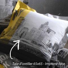Taie d'oreiller 65x65 cm 100% coton NEW YORK