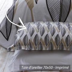 Taie d'oreiller 70x50 cm 100% coton LEAF BLANC * DESTOCKAGE *