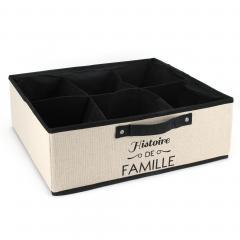 Tiroir de rangement 6 compartiments en tissu 20L beige Histoire de famille