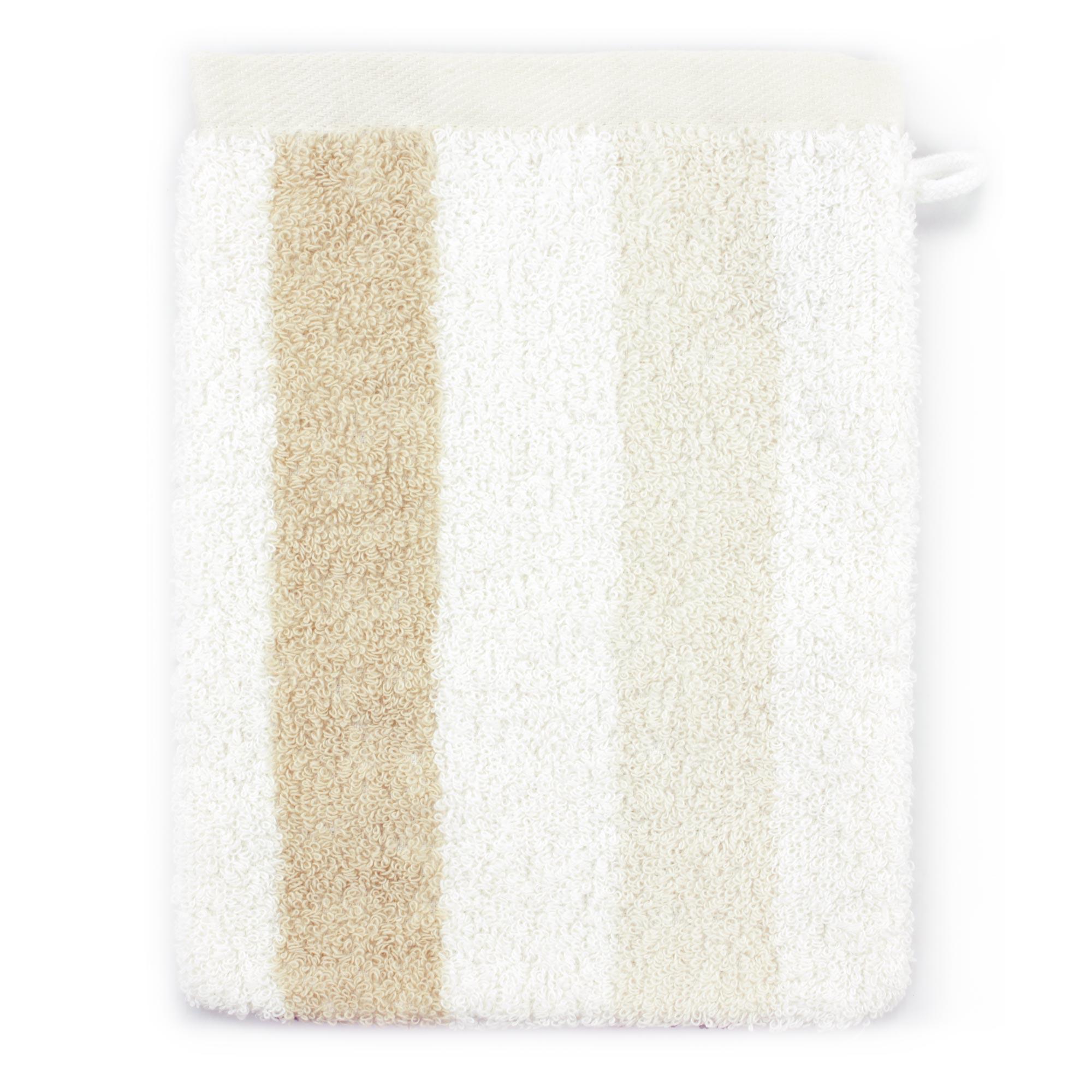 Gant-de-toilette-16x21-100-coton-480g-m2-CLASSIC-STRIPES-Marron miniature 2