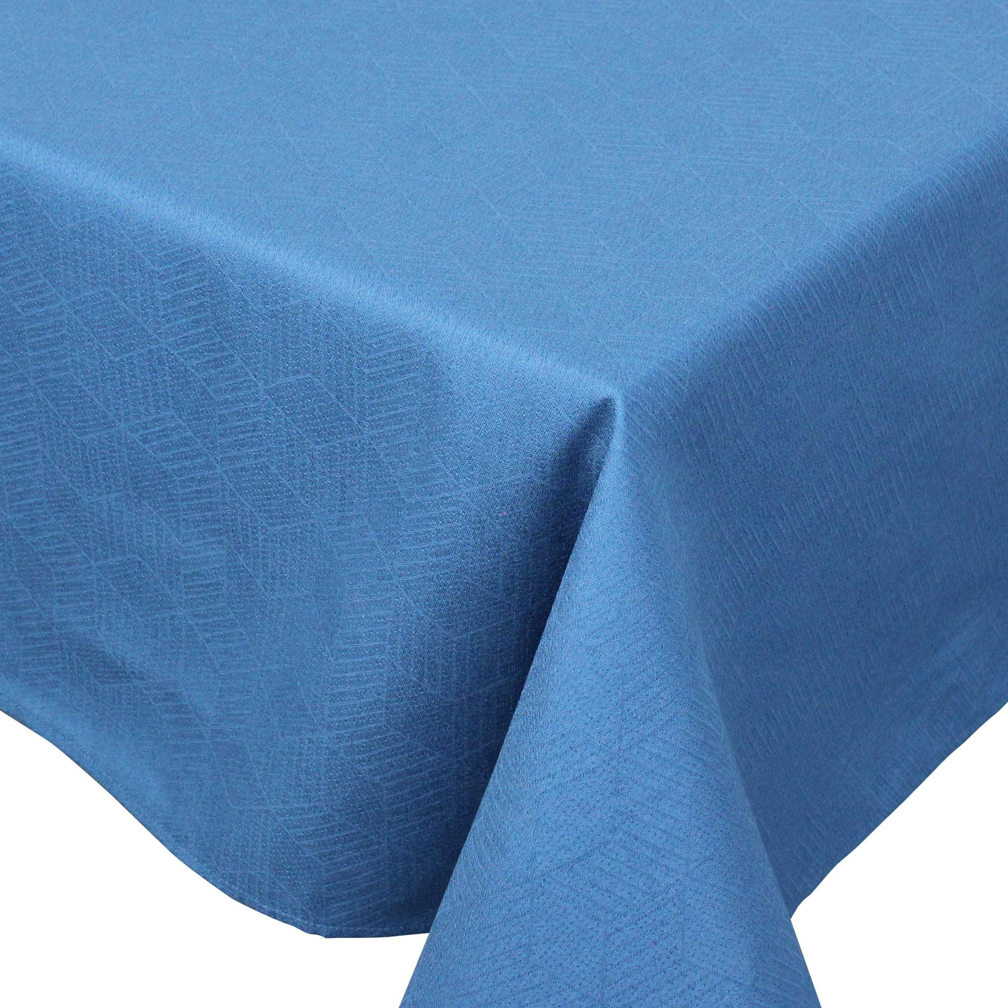 Nappe rectangle 150x350 Jacquard 100% coton CUBE bleu Cobalt