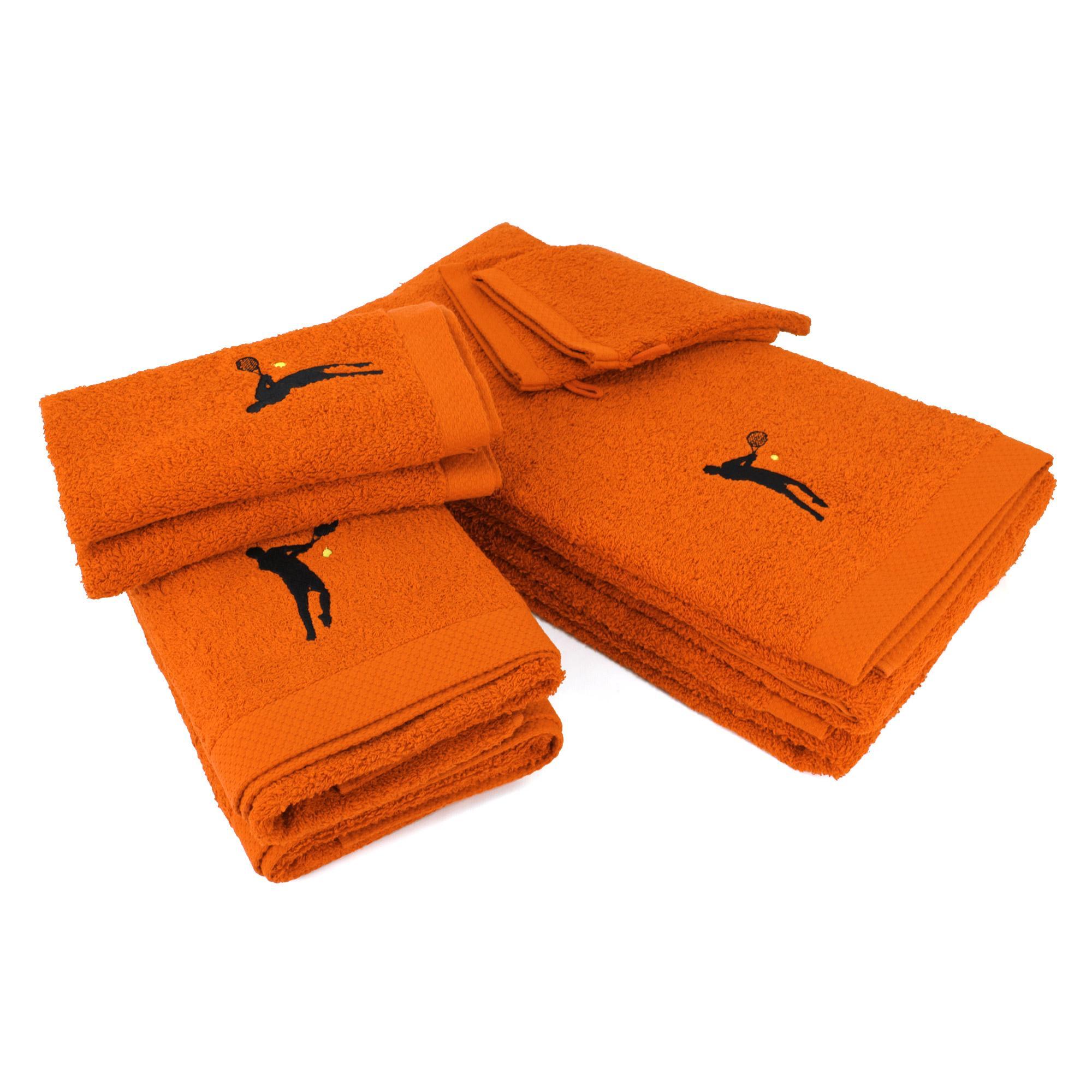 Parure de bain 8 pièces 100% coton 550g m2 PURE TENNIS Orange Butane
