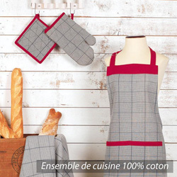 Ensemble de cuisine tablier gant manique