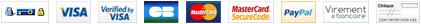 Paiement sécurisé, Visa (Verified by Visa), CB, MasterCard (MasterCard SecureCode), PayPal, Virement bancaire, Chèque